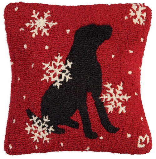 Black Lab with Flakes, Chandler 4 Corners, Hooked Wool Pillow
