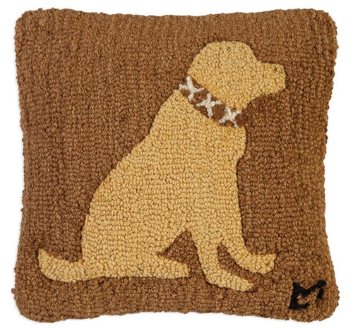 Duke Yellow Lab, Chandler 4 Corners, Hooked Wool Pillow