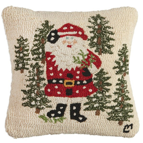 Santa with Trees, Chandler 4 Corners, Hooked Wool Pillow