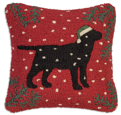 Christmas Black Lab, Chandler 4 Corners, Hooked Wool Holiday Pillow