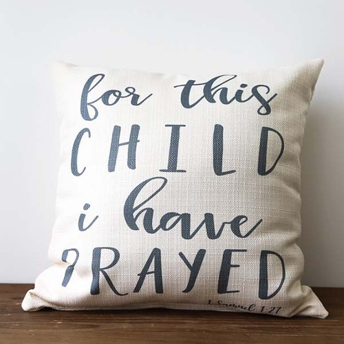 For This Child I Have Prayed, Throw Pillow, Little Birdie