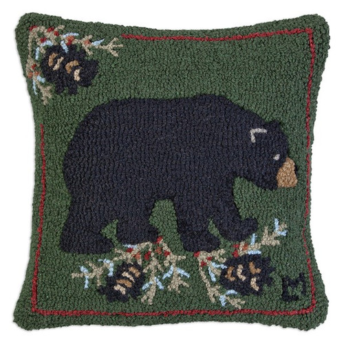 Black Bear with Cones, Chandler 4 Corners, Hooked Wool Pillow