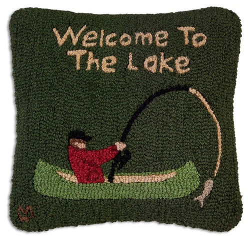 Welcome to the Lake, Chandler 4 Corners, Hooked Wool Pillow