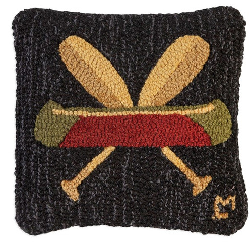 Canoe and Crossed Paddles, Chandler 4 Corners, Hooked Wool Pillow