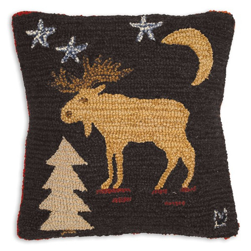 Night Moose, Chandler 4 Corners, Hooked Wool Pillow