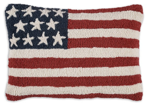 Stars and Stripes, Chandler 4 Corners, Hooked Wool Pillow