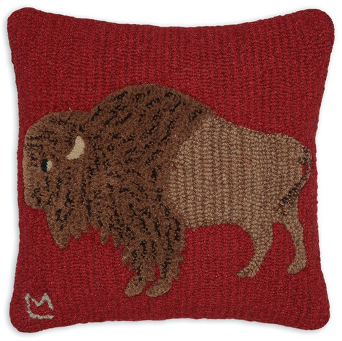 Plush Buffalo, Chandler 4 Corners, Hooked Wool Pillow
