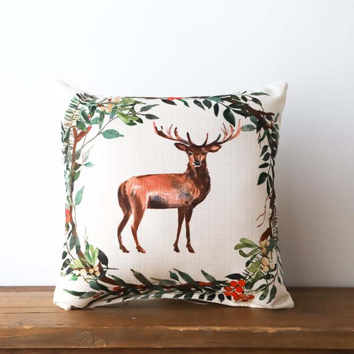 Christmas Deer Wreath, Throw Pillow, Little Birdie