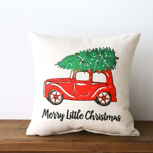 Merry Little Christmas, Throw Pillow, Little Birdie