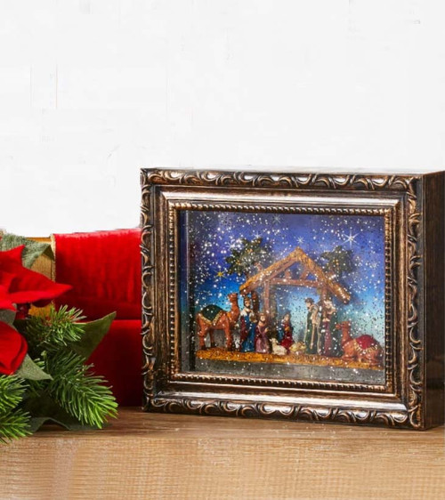 Nativity, Framed Picture, Water Lantern, Raz, Christmas