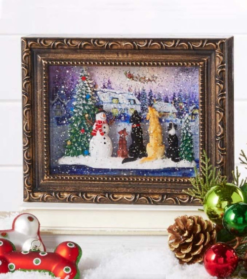 Dogs Watching Santa Water Lantern Picture Frame