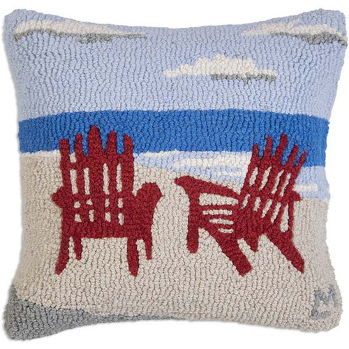 Chandler 4 Corners hooked wool throw pillow, Late Afternoon