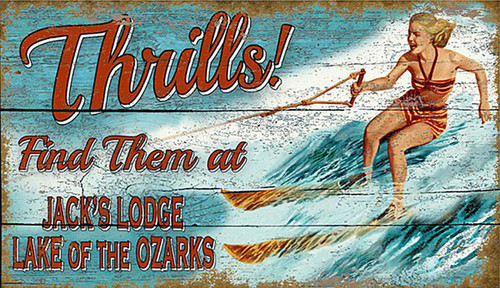 Thrills by Red Horse, a custom vintage lodge image with a woman waterskiing on a lake, distressed knotty wood panel