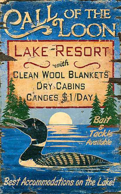 Call of the Loon, Lake Resort, vintage sign Red Horse
