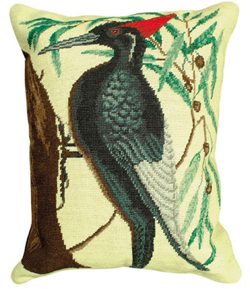 This depiction of the White-Bill Woodpecker is taken from The Natural History of Carolina, Florida, and the Bahama Islands (1731-1747) by famed naturalist Mark Catesby. Needlepoint throw pillow measures 16 x 20 inches, by Michaelian Home.