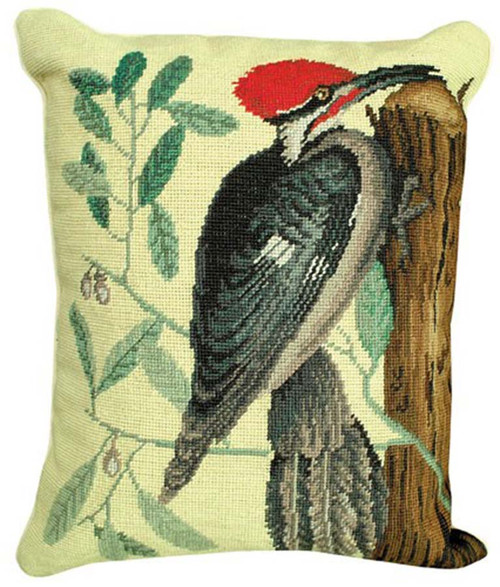 This depiction of the Red-Crested Woodpecker is taken from The Natural History of Carolina, Florida, and the Bahama Islands (1731-1747) by famed naturalist Mark Catesby. Pileated needlepoint throw pillow by Michaelian Home.