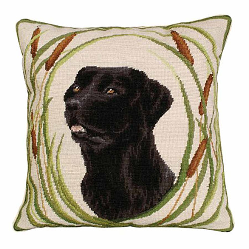 Michaelian Home needlepoint pillow, black lab Gus.