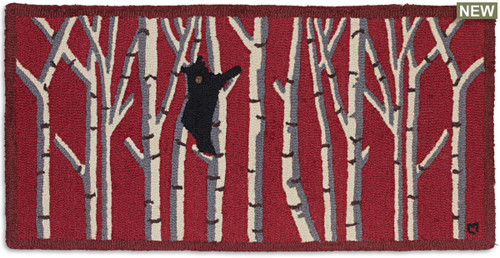 Bear in Birches hooked wool rug