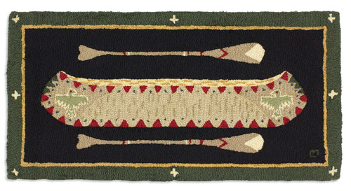 Green Long Boat, Chandler 4 Corners hooked wool rug.