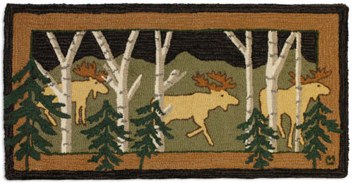 Three birch moose at night stroll in the dark, Chandler 4 Corners hooked wool rug.