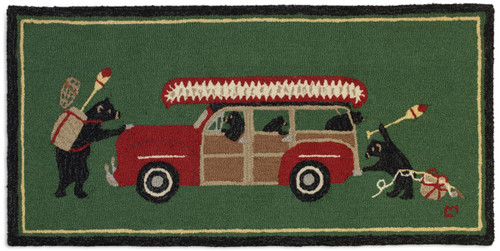 Woody Wagon Bears, Chandler 4 Corners hooked wool rug.