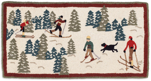 Cross Country Skiing Chandler 4 Corners hooked wool rug