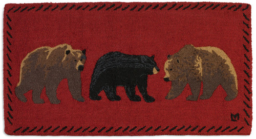 Mixed Bears, Chandler 4 Corners hooked wool rug