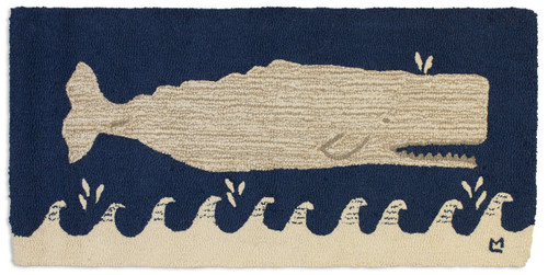White whale on navy, Chandler 4 Corners hooked wool rug.