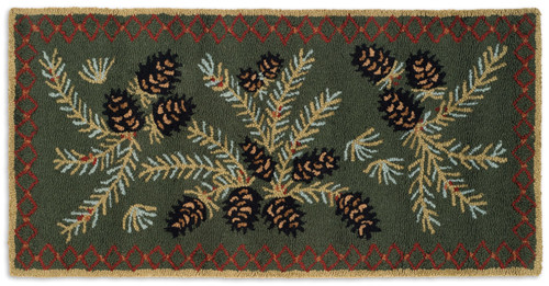Diamond Pinecone hooked wool rug