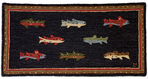 River Fish hooked wool rug