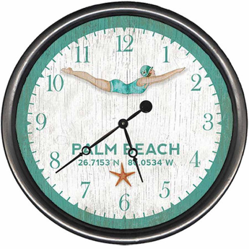 Dive Girl, Palm Beach, Red Horse vintage wooden wall clock.