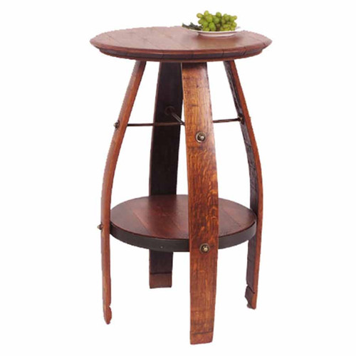 Bistro table, wine barrel top, wine staves for legs, extra shelf, 2-Day-Designs.
