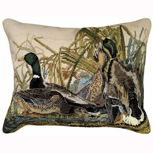 Mallard ducks Michaelian Home mixed stitch throw pillow