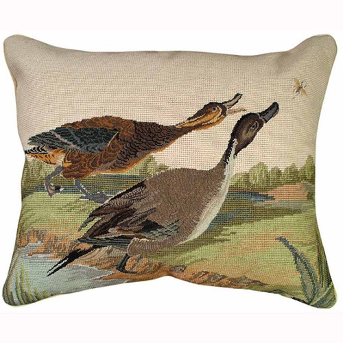 Pintail duck Michaelian Home mixed stitch throw pillow