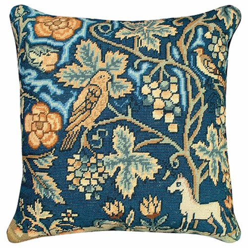 Unicorn and bird English tapestry throw pillow, Michaelian Home