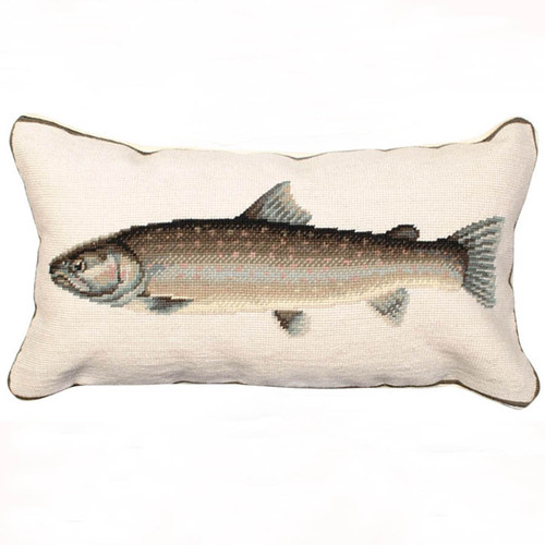 Bull trout needlepoint throw pillow, Michaelian Home