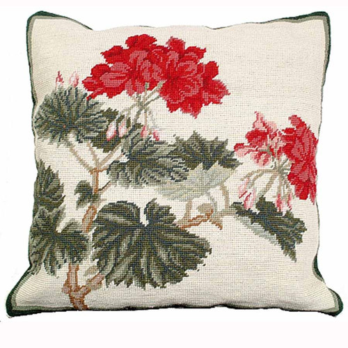 Geranium, floral needlepoint throw pillow, Michaelian Home