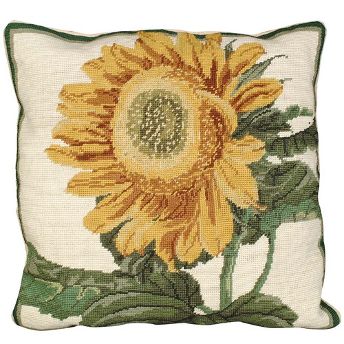 Sunflower floral needlepoint throw pillow, Michaelian Home