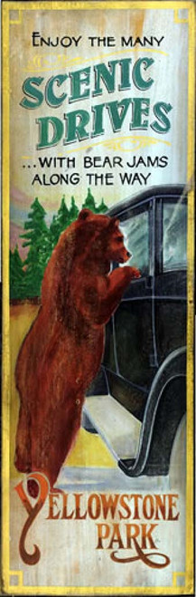 Bear Jams Red Horse vintage signs,  Yellowstone poster, scenic drives, bear on the car