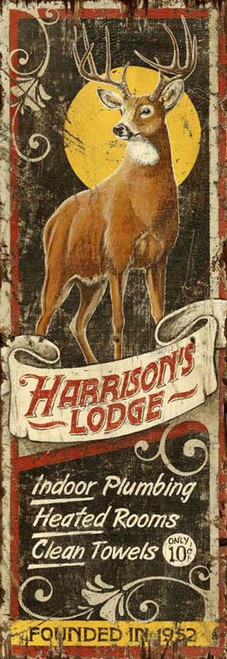 Deer Lodge, Red Horse vintage sign with a stag outlined by the moon.