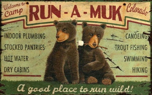 Run-a-Muk vintage sign, Red Horse, two bears pose with a marshmallow, poster on wooden board