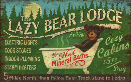 Lazy Bear Lodge, vintage sign, Red Horse, a bear in a bathtub on a moonlit night