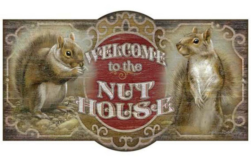 Welcome to the Nut House, vintage sign, Red Horse, two squirrels, poster, wooden board