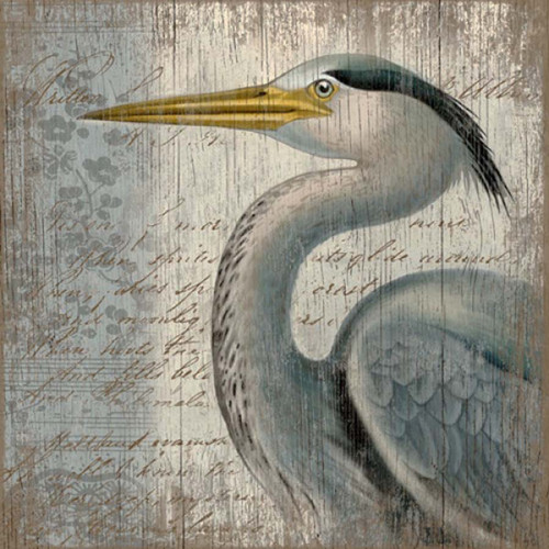 Great Blue Heron vintage sign, Red Horse, poster by Suzanne Nicoll