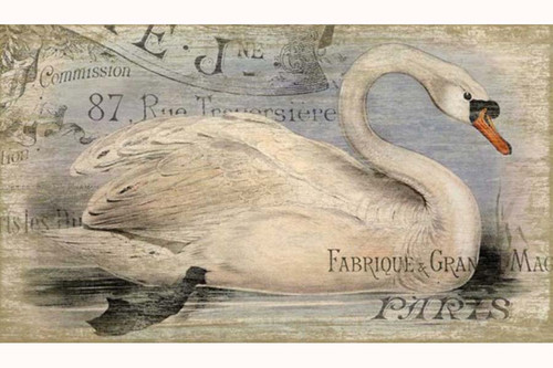 French Swan, swimming trumpeter,  vintage sign, Red Horse