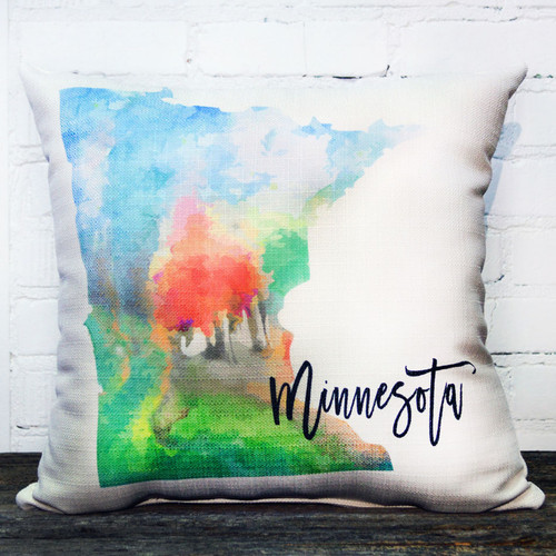 Minnesota Bright Watercolor State throw pillow by the Little Birdie