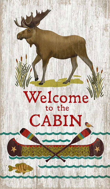 Welcome to the cabin vintage sign, Red Horse, Bull Moose on a white background, a canoe waits by the river full of fish