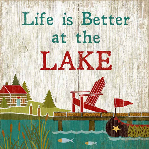 Life is better at the lake, vintage poster, Suzanne Nicoll, Red Horse vintage signs. Cabin, Adirondack chair and canoe wait for you at the lake.