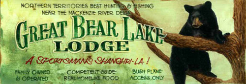 Great Bear Lake Lodge, Red Horse Signs, a black bear sits in a tree on a light green background.