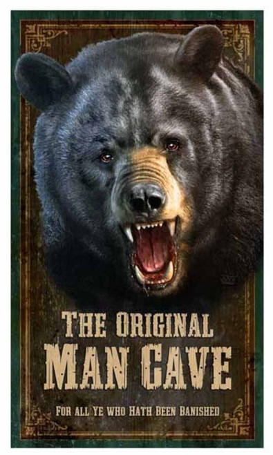 The original man cave sign, by Red Horse signs with growling Grizzly Bear